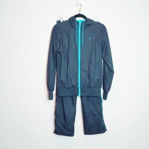 Nike Black/Blue Track Full Zip Jacket/Pant Set